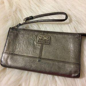 COACH Dark Silver Leather CHELSEA ZIPPY Wallet